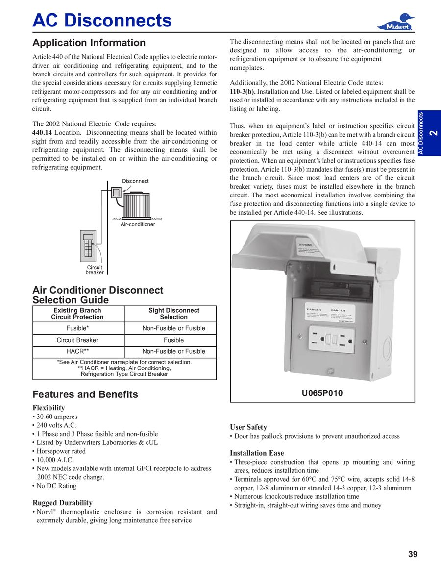 Page 39 Of General Product Catalog 2008 How To Install Branch Circuit Wires P 133