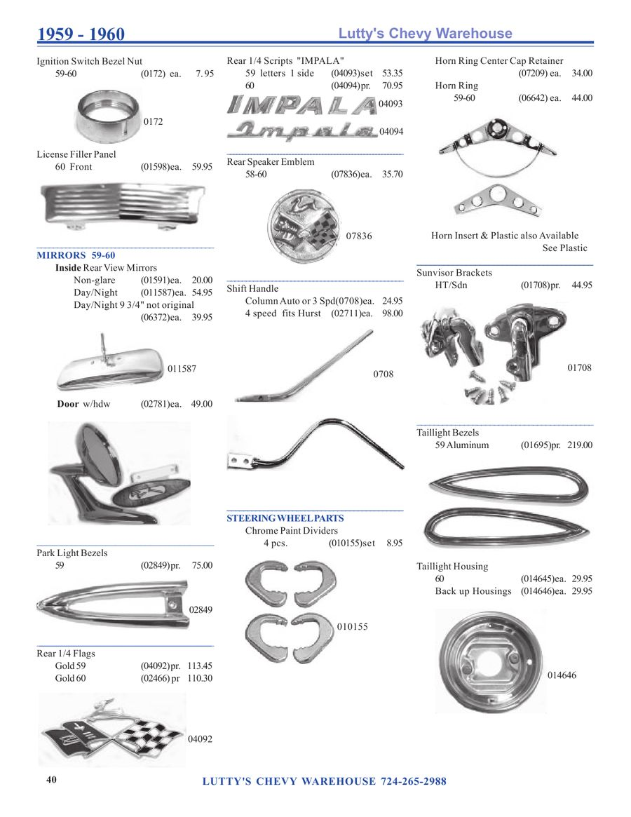 1959 1960 Impala Parts By Lutty Wiring Diagram With Alternator