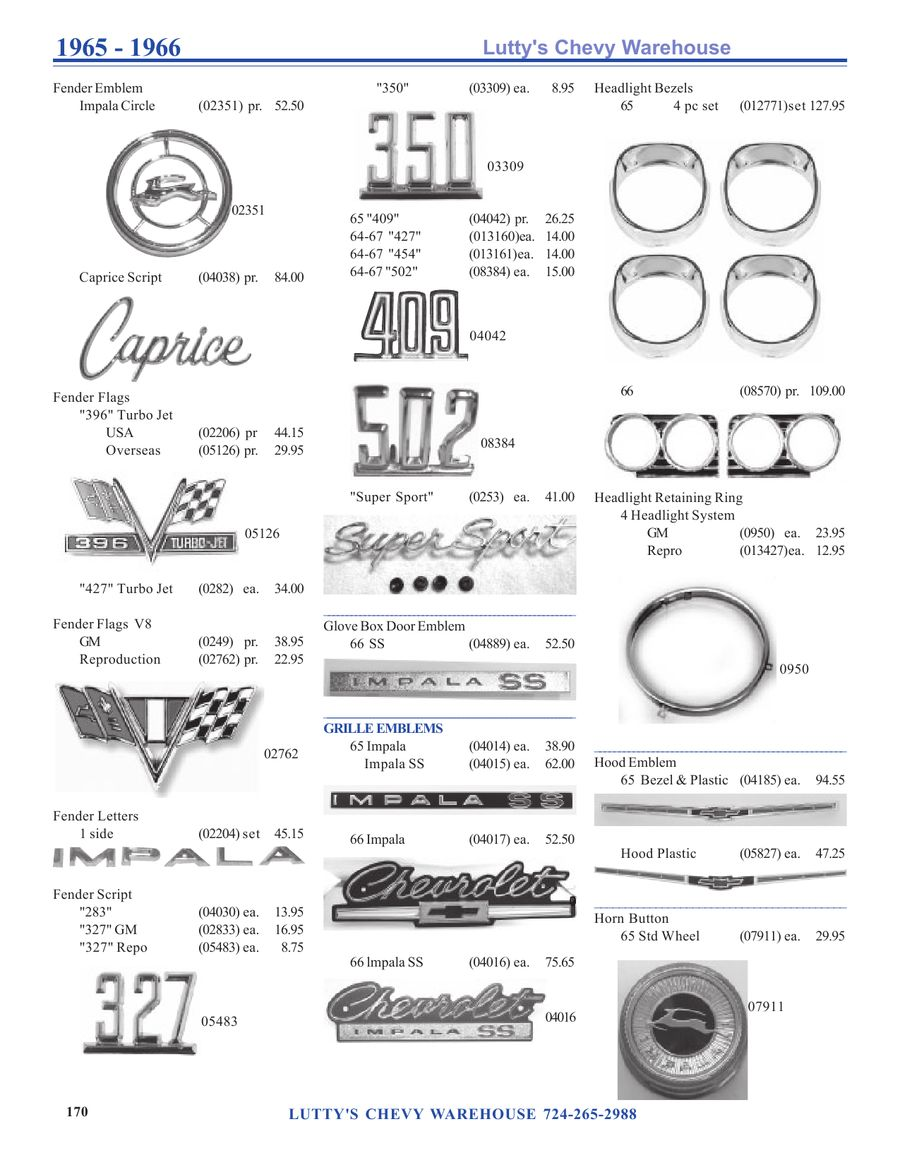 1965 1966 Impala Parts By Lutty Super Sport Wiring Diagram