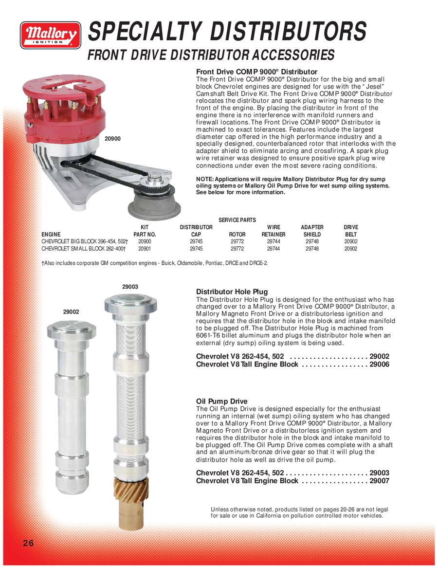 Page 28 Of Mallory Ignition Unilite Distributor Parts P 150