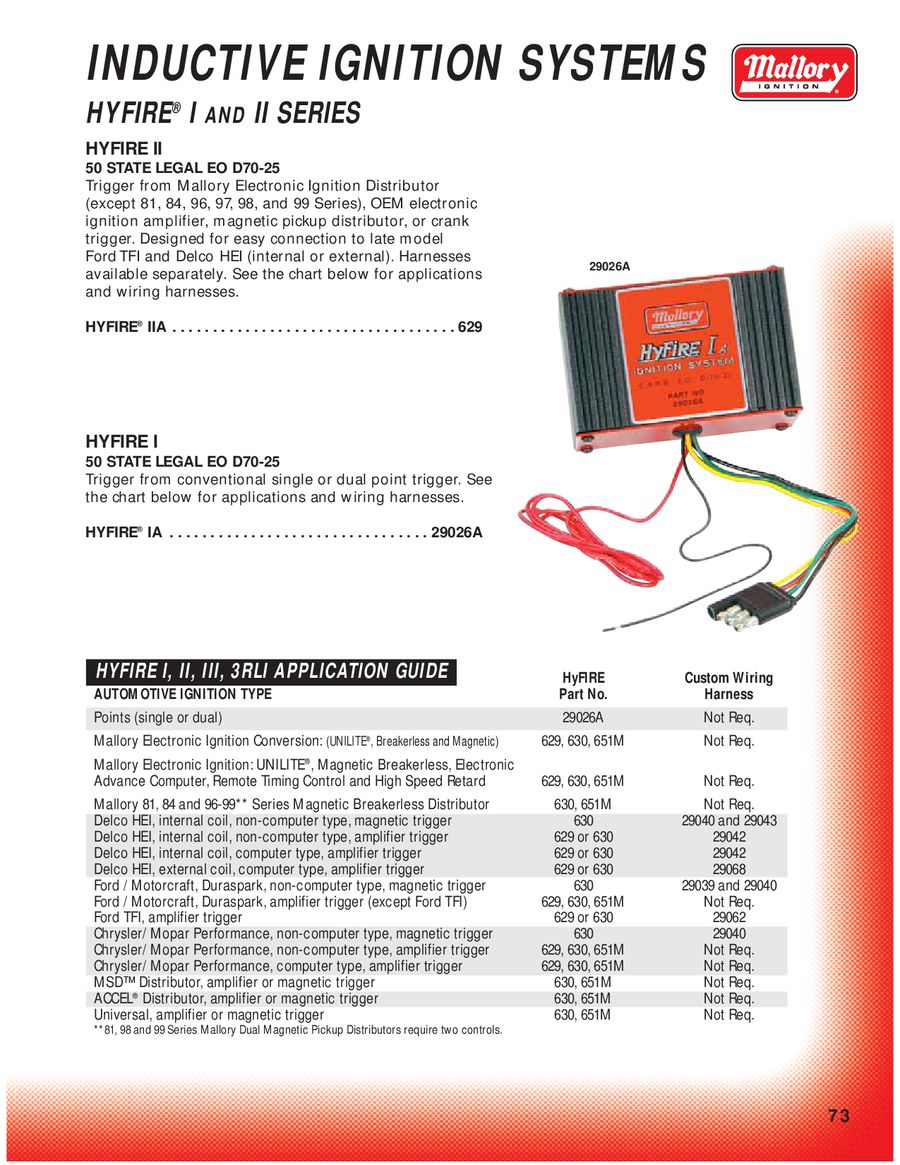 Page 77 of Mallory Ignition Mallory Hyfire Wiring Diagram on