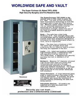 Super Fortress UL TRTL 30X6 UL Listed Commercial Safe