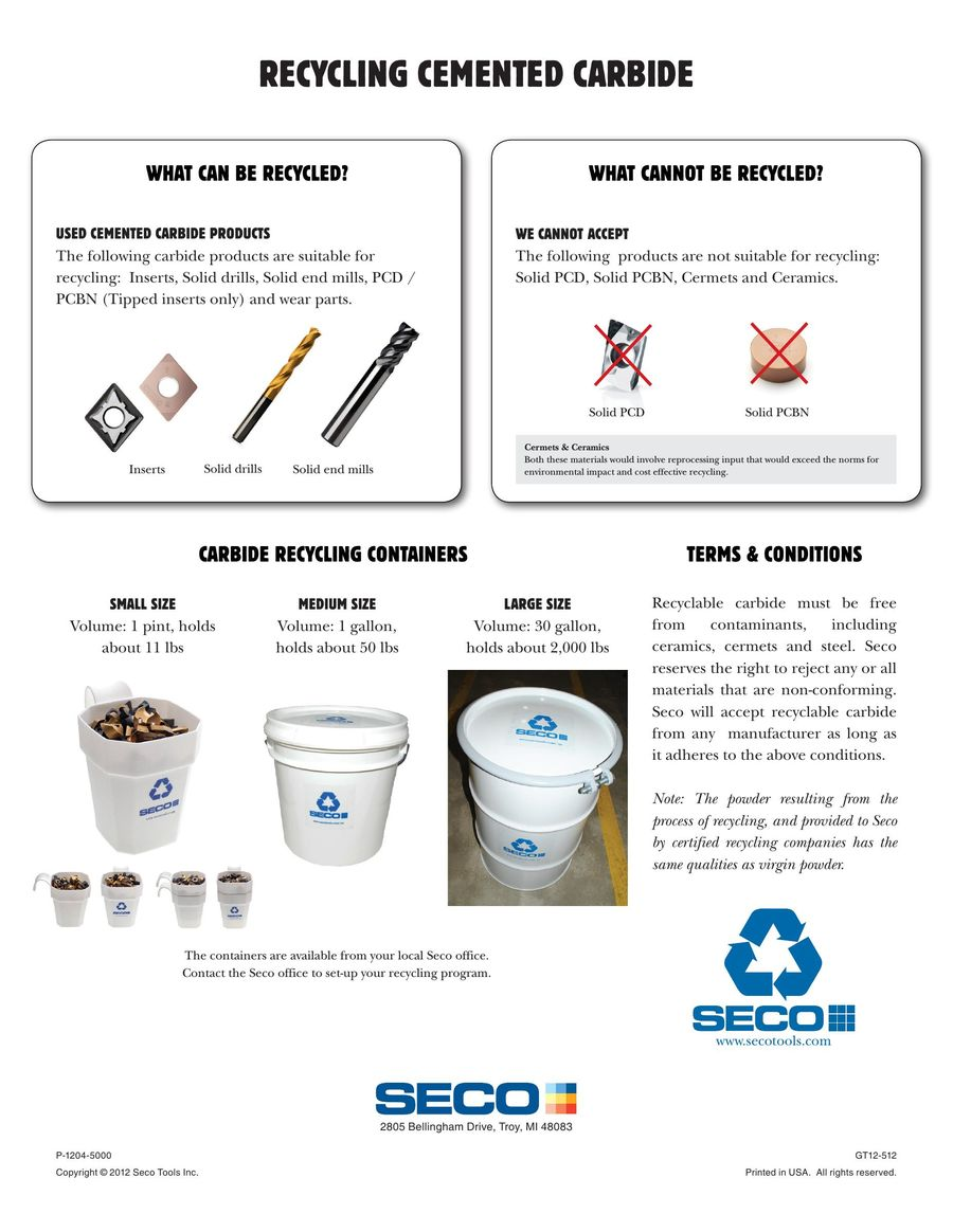 Recycling flyer 2016 by Seco Tools
