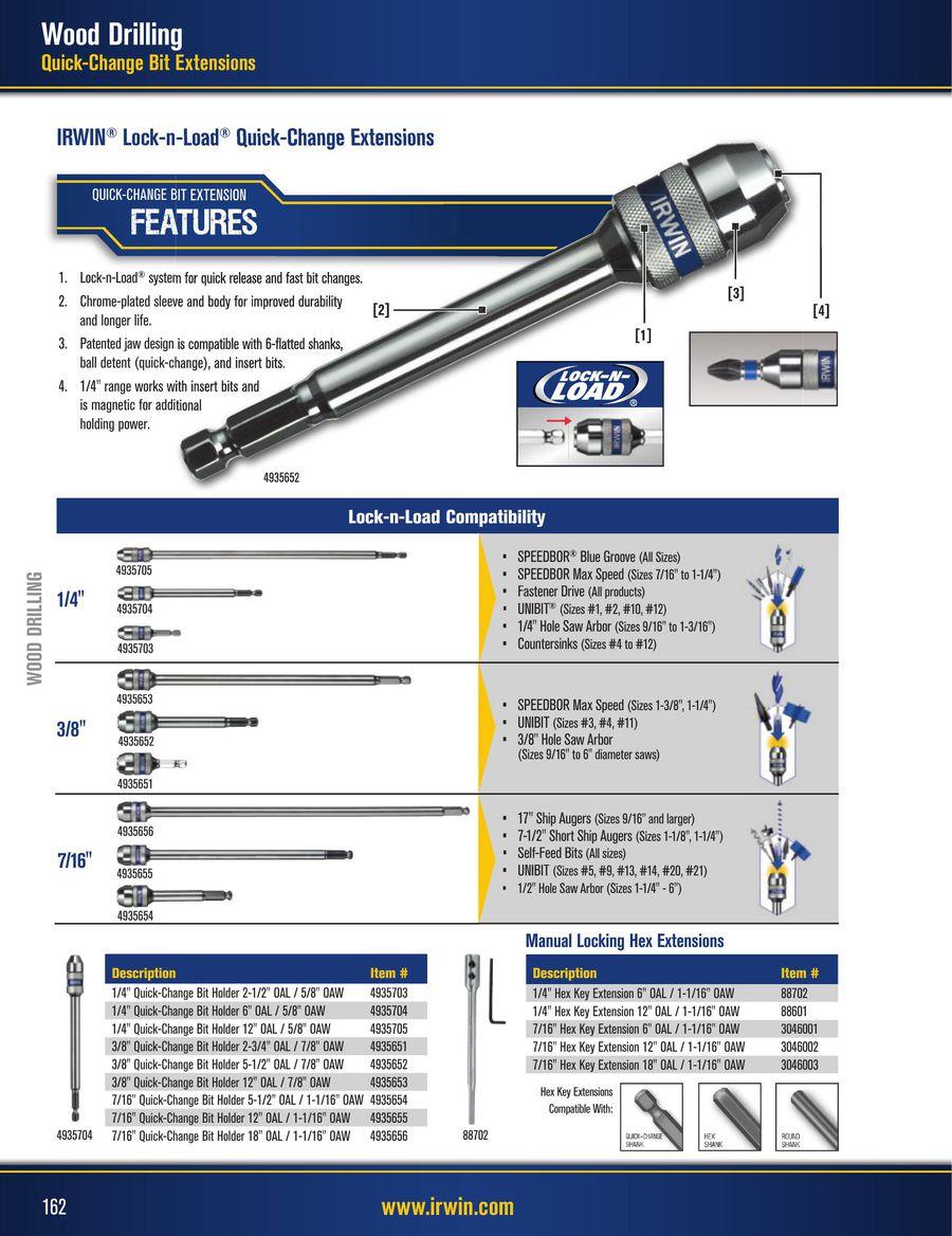 8 11//16 8 Irwin Tools 45311 Boring Machine Auger Bits 11//16