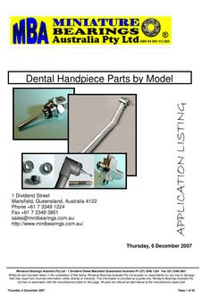 Dental Handpiece Parts by Model