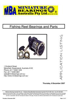 Fishing Reel Bearings