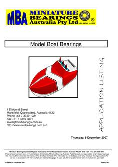 Model Boat Bearings