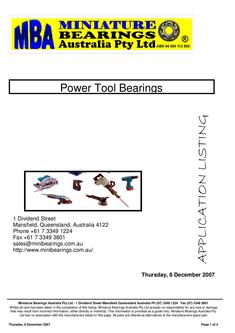 Power Tool Bearings