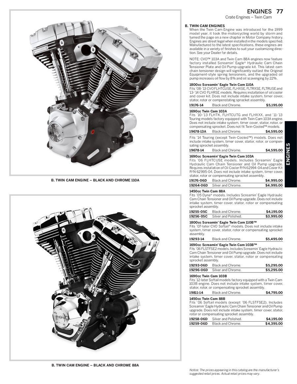 Harley Davidson Screamin Eagle Se120r Motor Black Chrome 19220