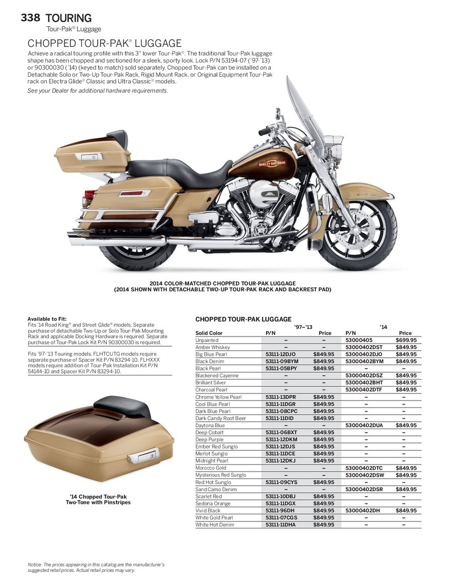 Page 59 Of 2014 Genuine H D Touring Parts 2015 Harley Davidson Tour Pack P 144