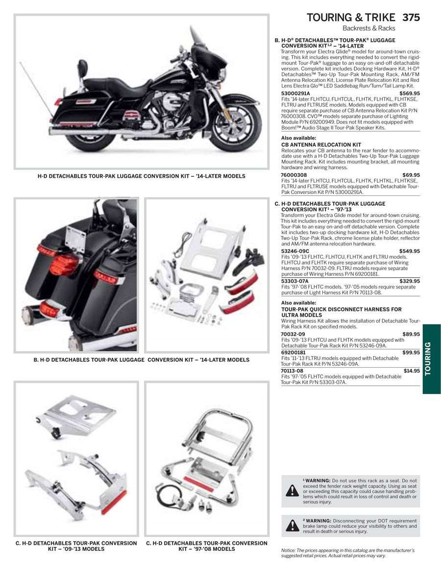 Page 377 of 2016 Harley-Davidson Genuine Motor Parts ... Harley Detachable Tour Pack Wiring Harness on