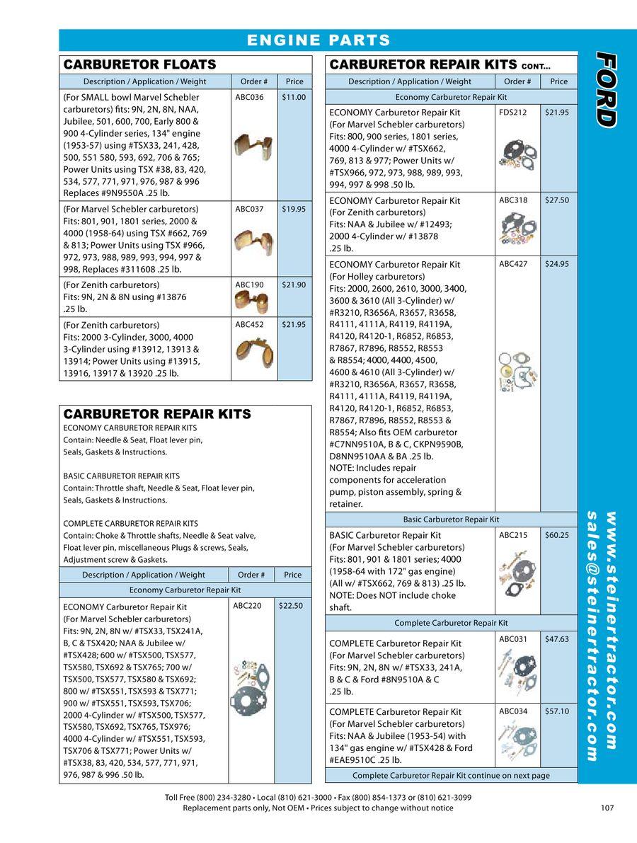 COMPLETE CARBURETOR REBUILD KIT FORD 800 900 4000 TRACTOR TSX 551 593 706 CARB