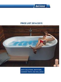 Price List 2014/2015 Bathtubs, Shower trays and Wellness