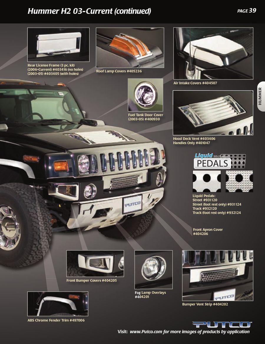 Putco Exterior Door Handle Cover-Chrome Hummer H3//Hummer H3T #400028
