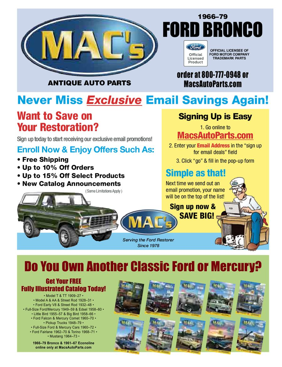 Ford Bronco 2012 2013 Parts Accessories By Macs Antique Auto Wiring Diagram For 1960 Edsel V8 All Models