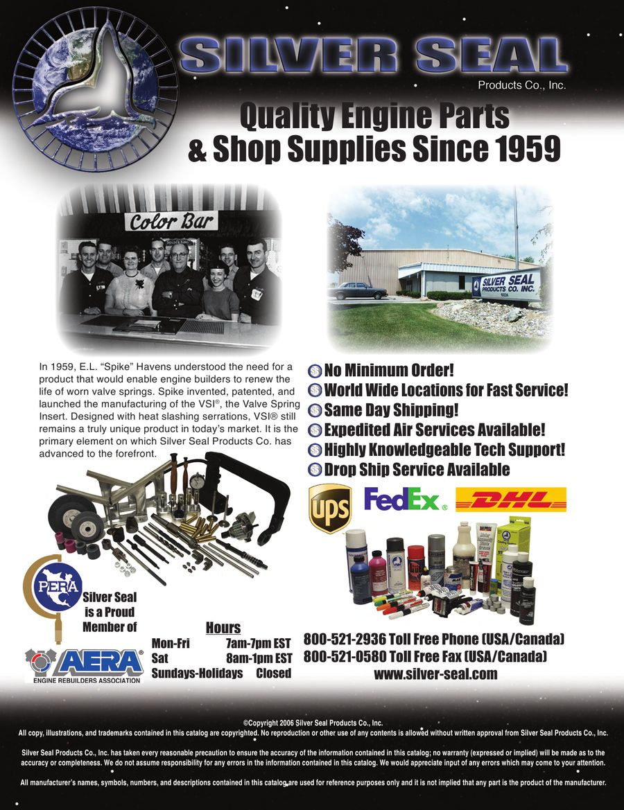 Engine Parts & Shop Supplies by Silver Seal Products