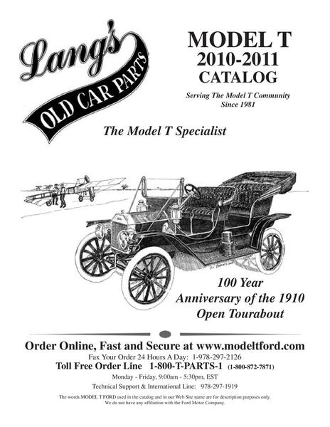 Catalogue: Langs Old Car Parts Ford Model T Parts 2010-2011