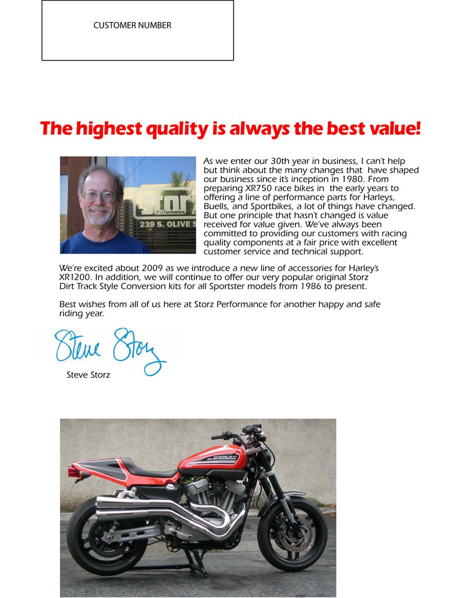 Motorcycle Parts for Harley and Buell 2009 by Storz Performance
