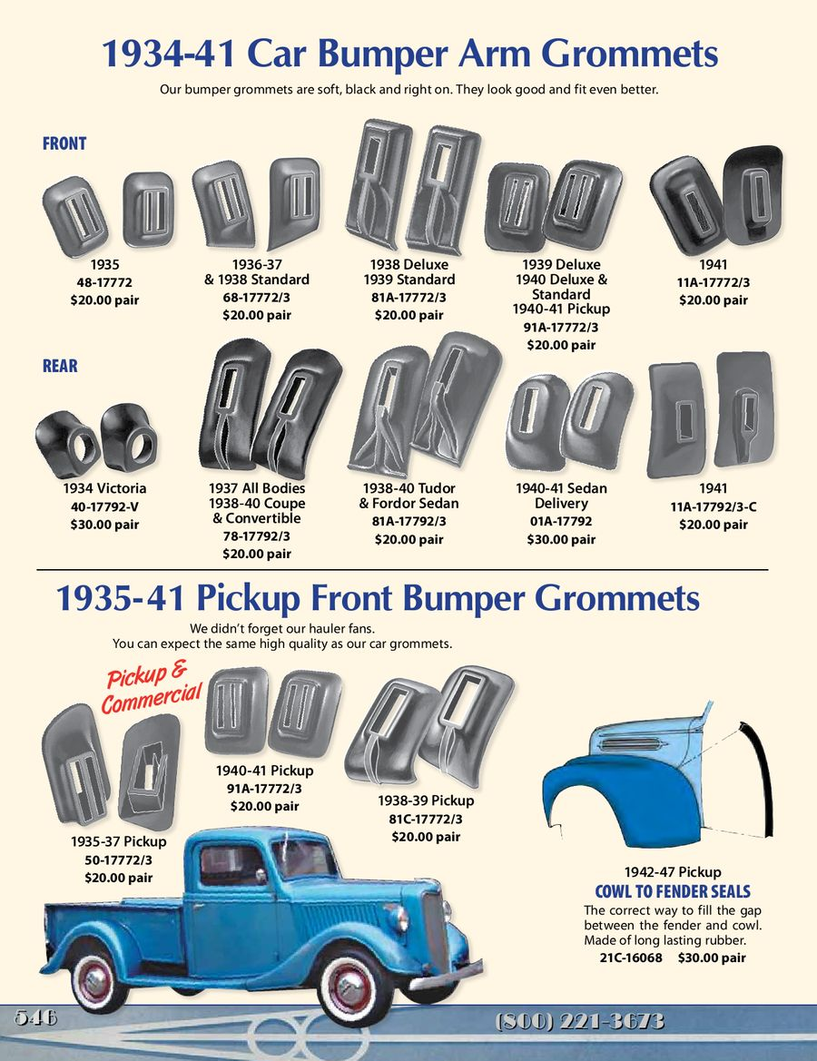 Rubber Parts For Old Fords Hot Rods 2013 By Bob Drake Reproductions 1941 Ford Truck Front Fenders