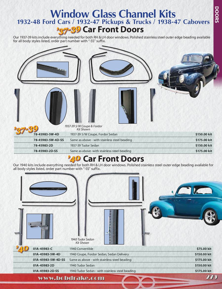 Window Glass Channel Kits 2014 By Bob Drake Reproductions 1941 Ford Sedan Delivery P 1 8