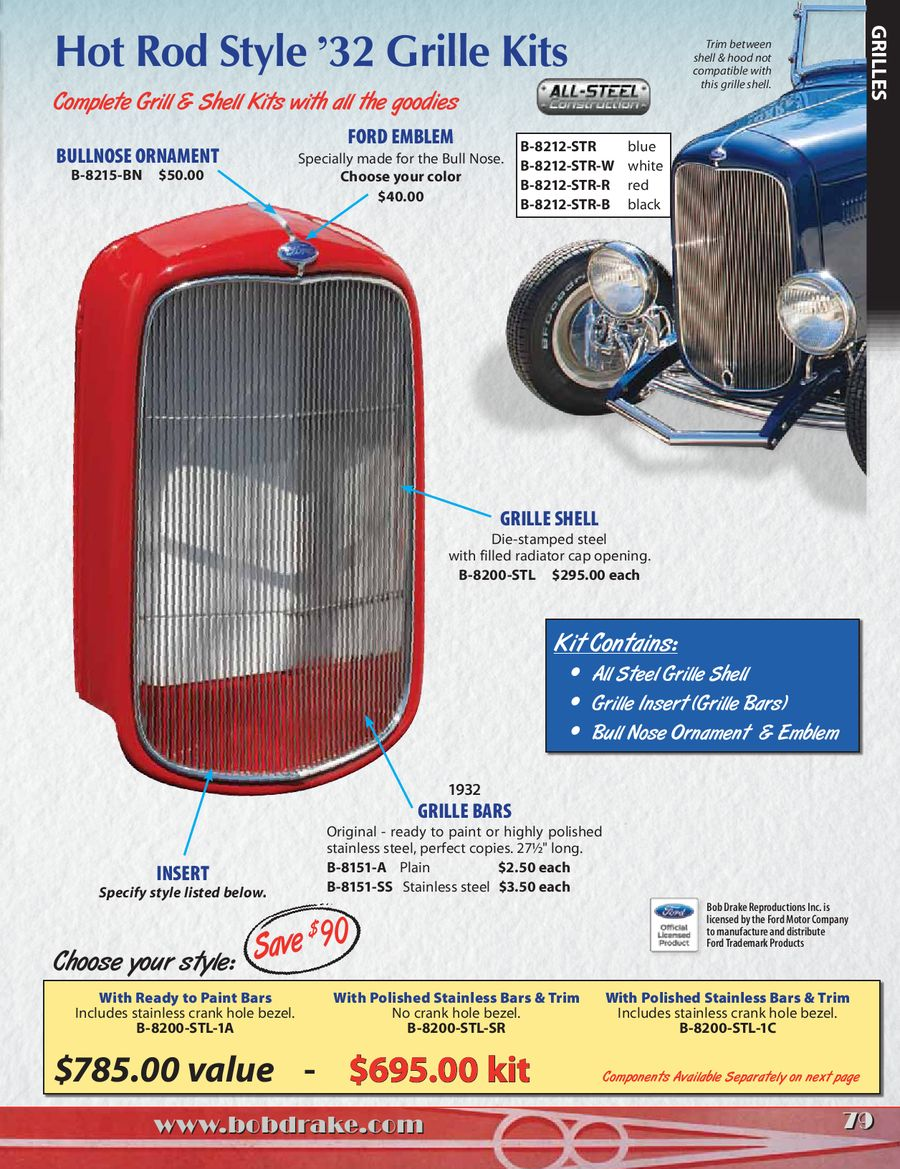 Shell lace Kit Grille 1938 1939 Ford Pickup and Commercial Radiator,