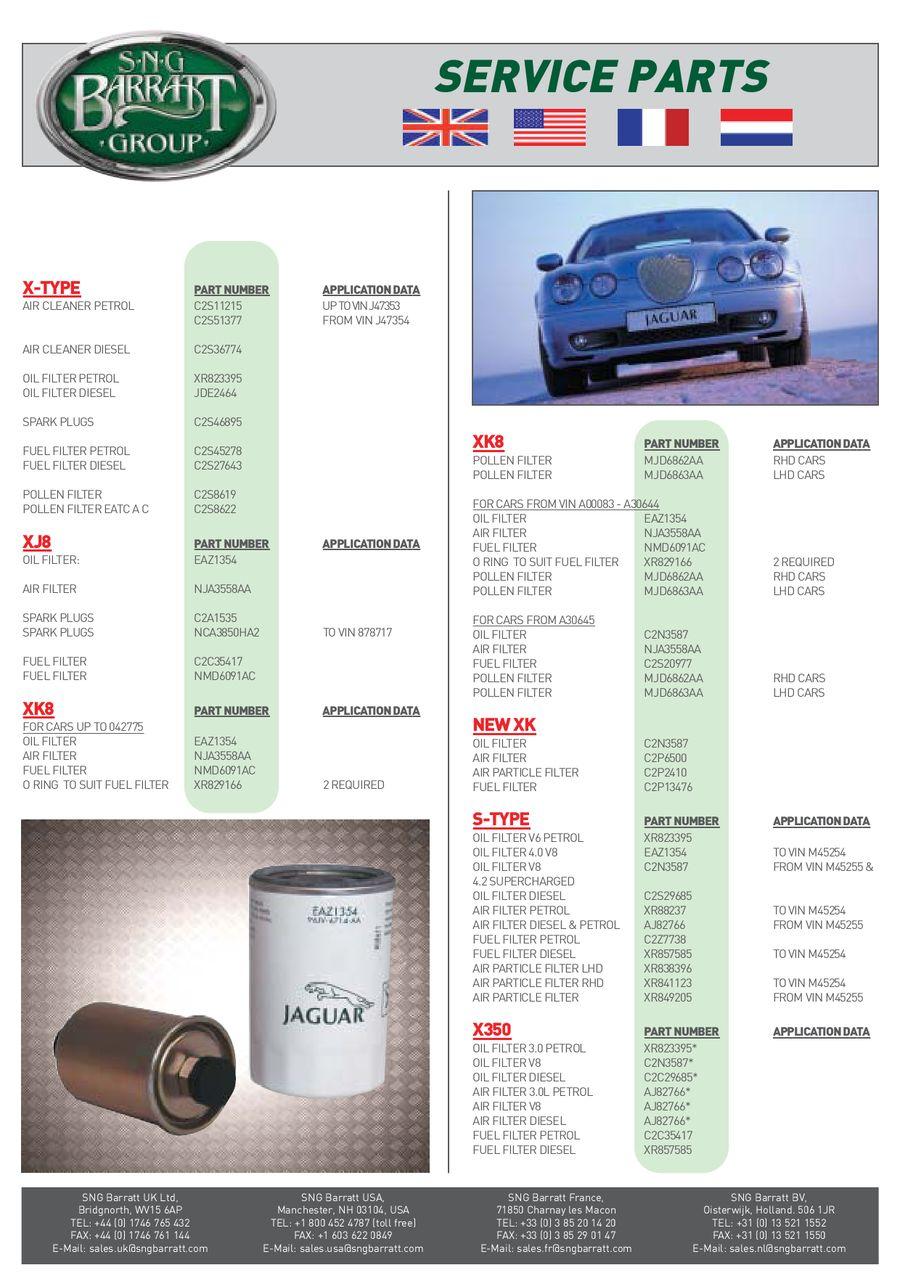 Jaguar Xj8 Parts Catalogue
