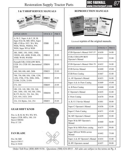 Farmall 460 Parts Catalog : Page of farmall tractor parts