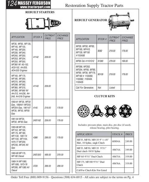 Massey Ferguson Tractors Parts Catalog : Page of massey ferguson tractor parts