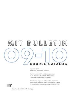Catalogue: MIT Massachusetts Institute of Technology Courses 2009/2010