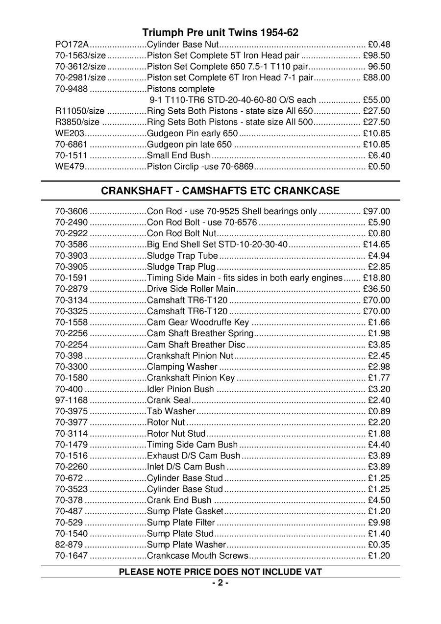 Triumph Pre Unit 1954-1962 parts by Supreme Motorcycles