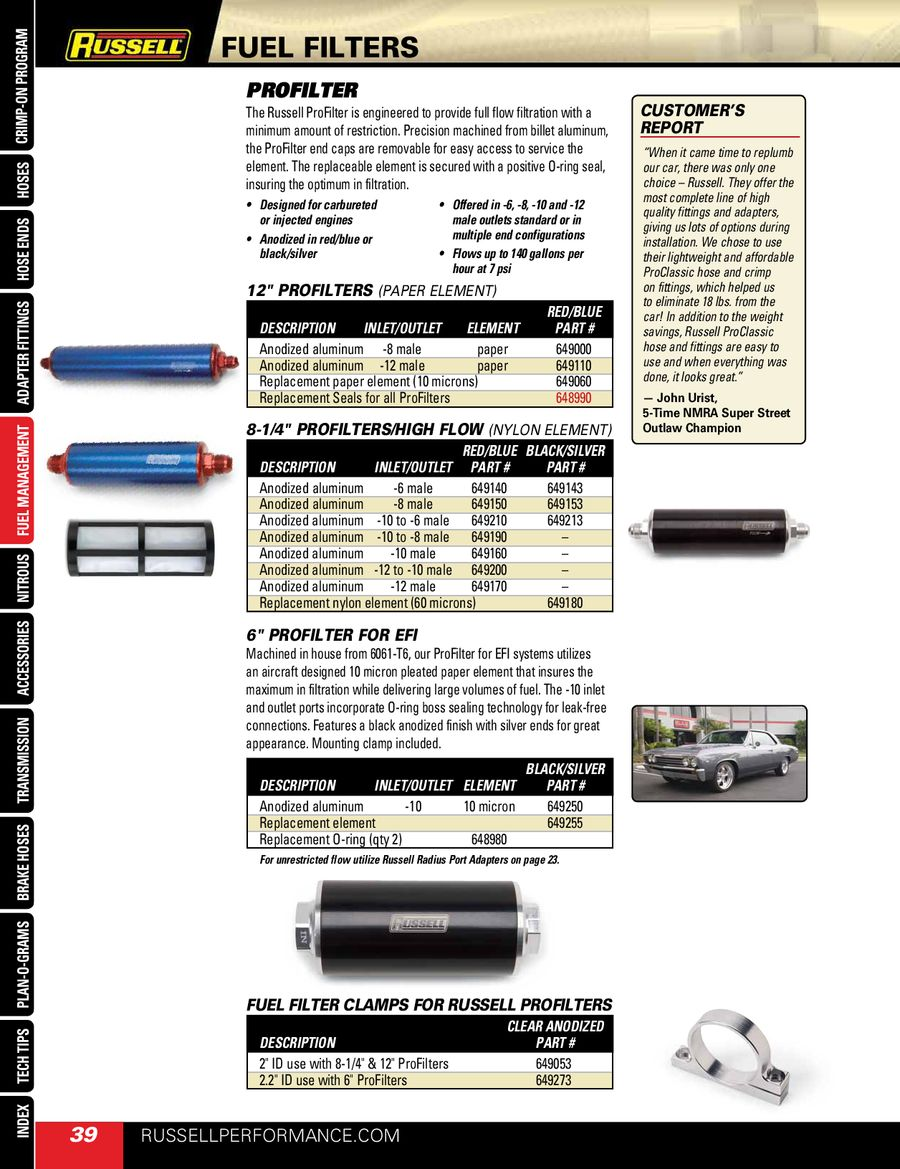 Fuel Filters 2011 By Russell Performance Text Flow Filter P 1 2