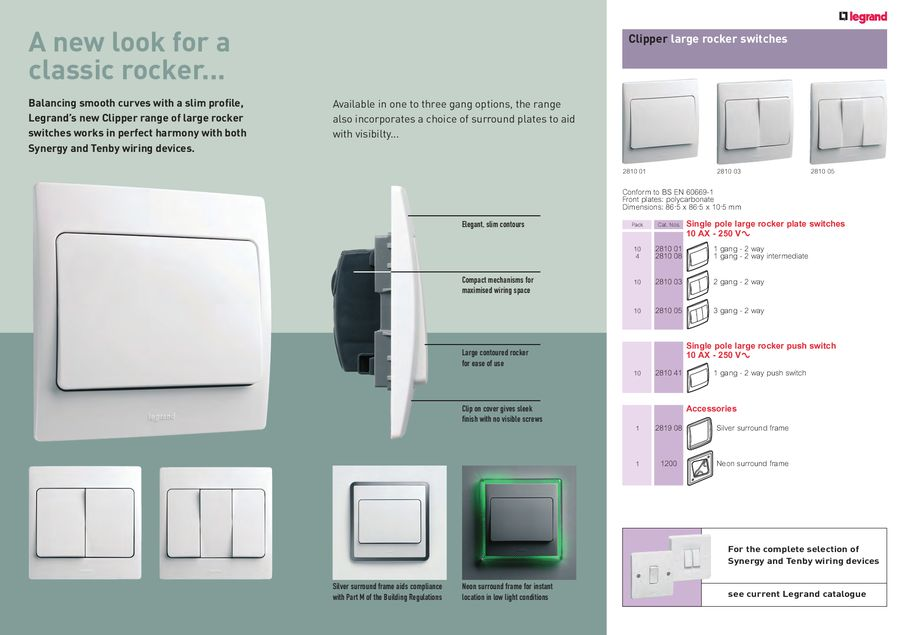 Clipper large rocker switches by Legrand Electric