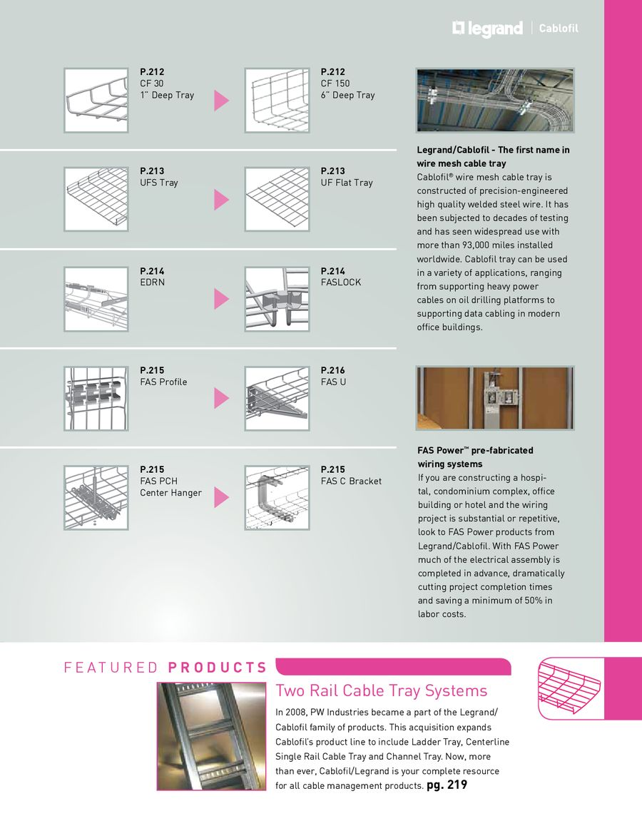 Cablofil Solutions 2011 2012 By Legrand Usa Wiring Accessories