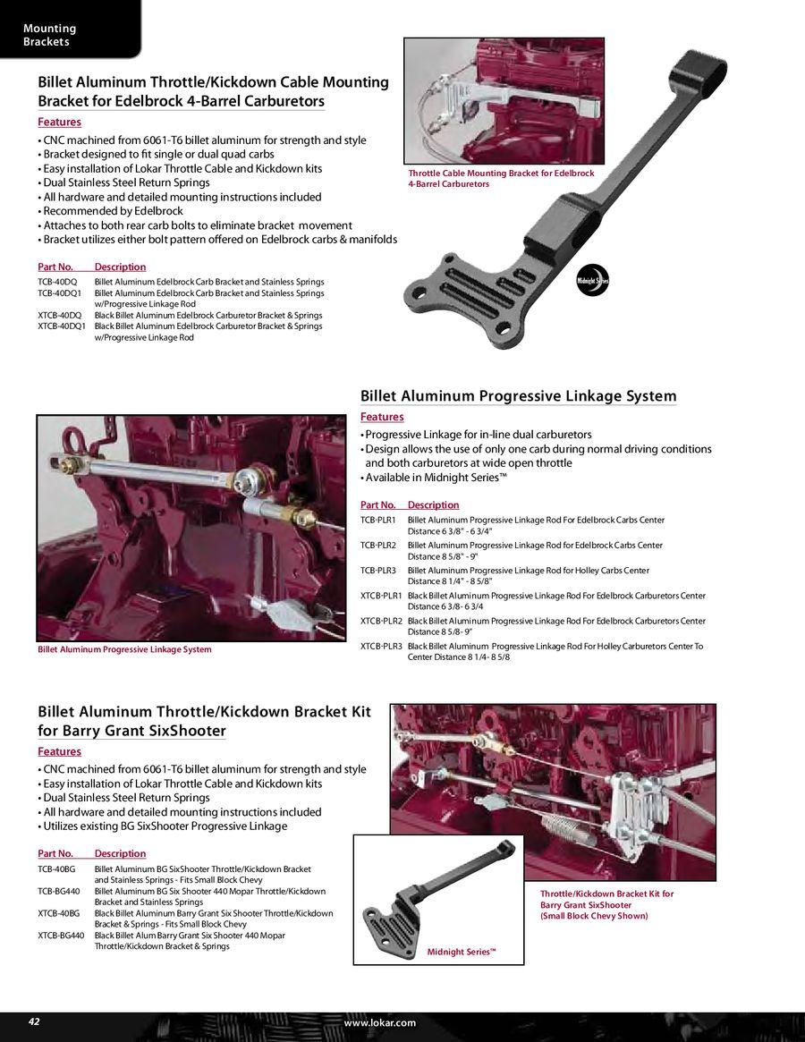 Lokar TCB-40DQ1 Billet Aluminum Bracket//Spring with Progressive Linkage Rod for Edelbrock Carburetor