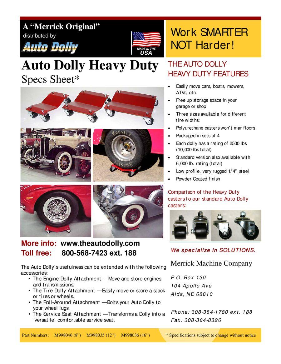 Set of 2 4 Hole Merrick Machine M998077 12 Auto Dolly Roll Around