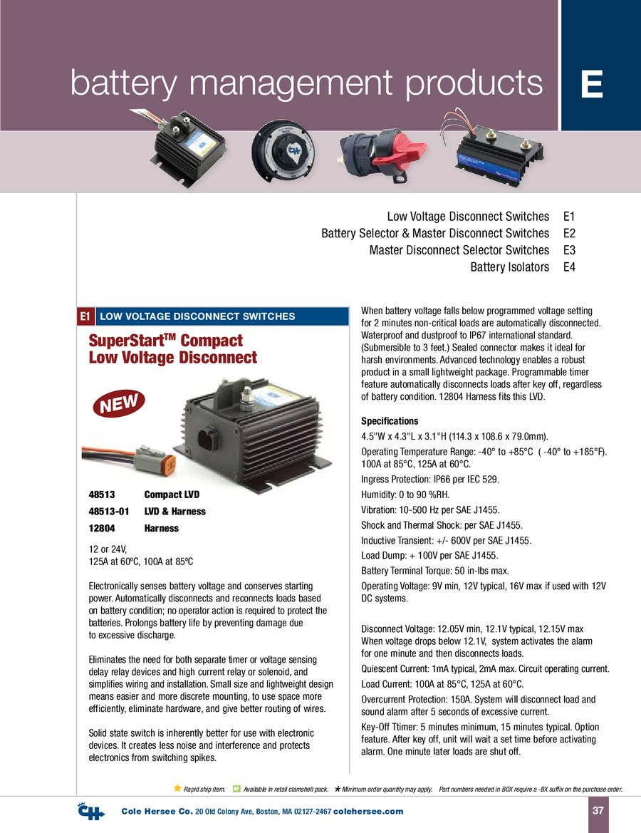 D 100 Marine Battery Management Products By Cole Hersee 48122 Isolator Wiring Diagram
