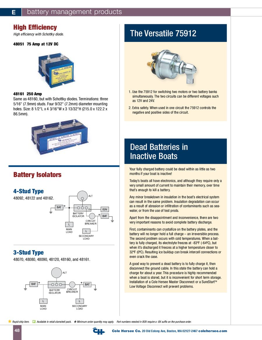 page 12 of d-100 marine battery management products cole hersee battery  isolator wiring diagram