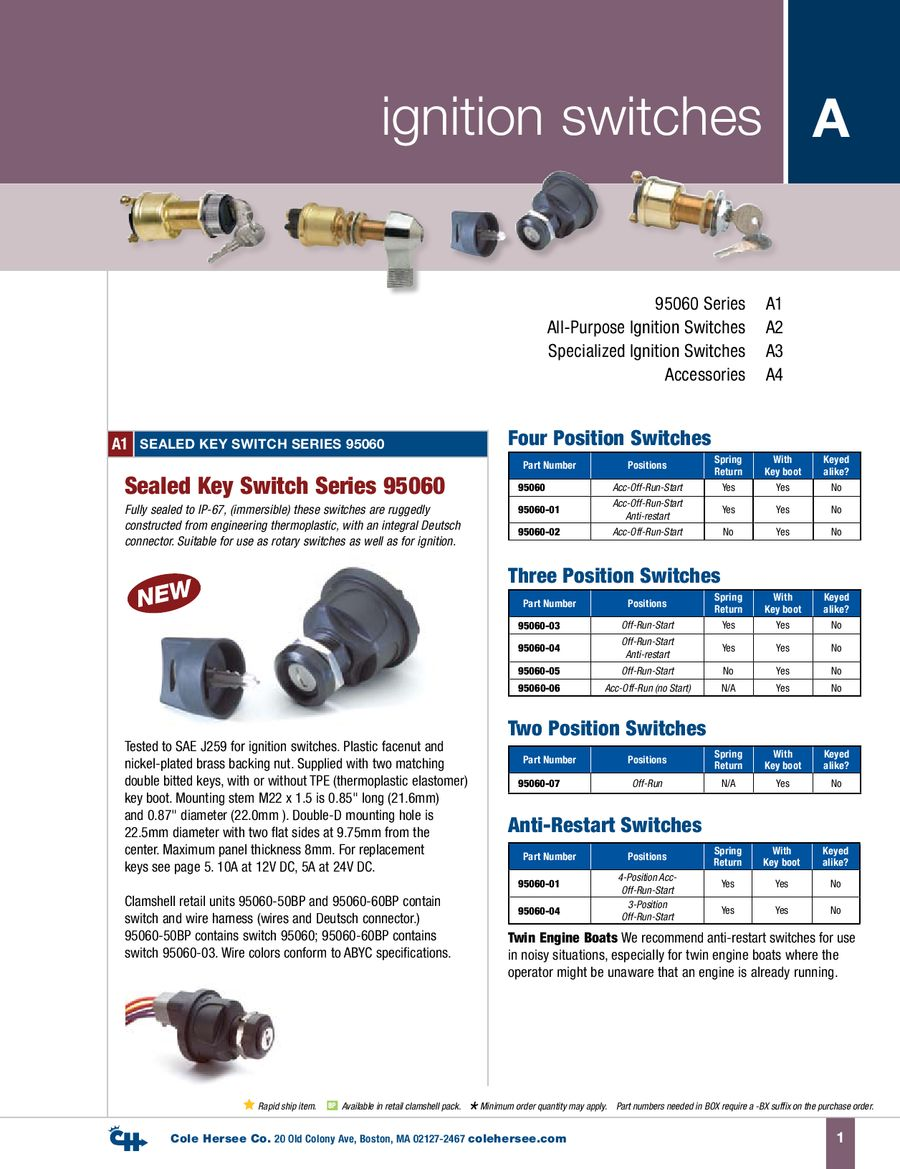 D 100 Marine Ignition Switches By Cole Hersee How To Wire A Switch
