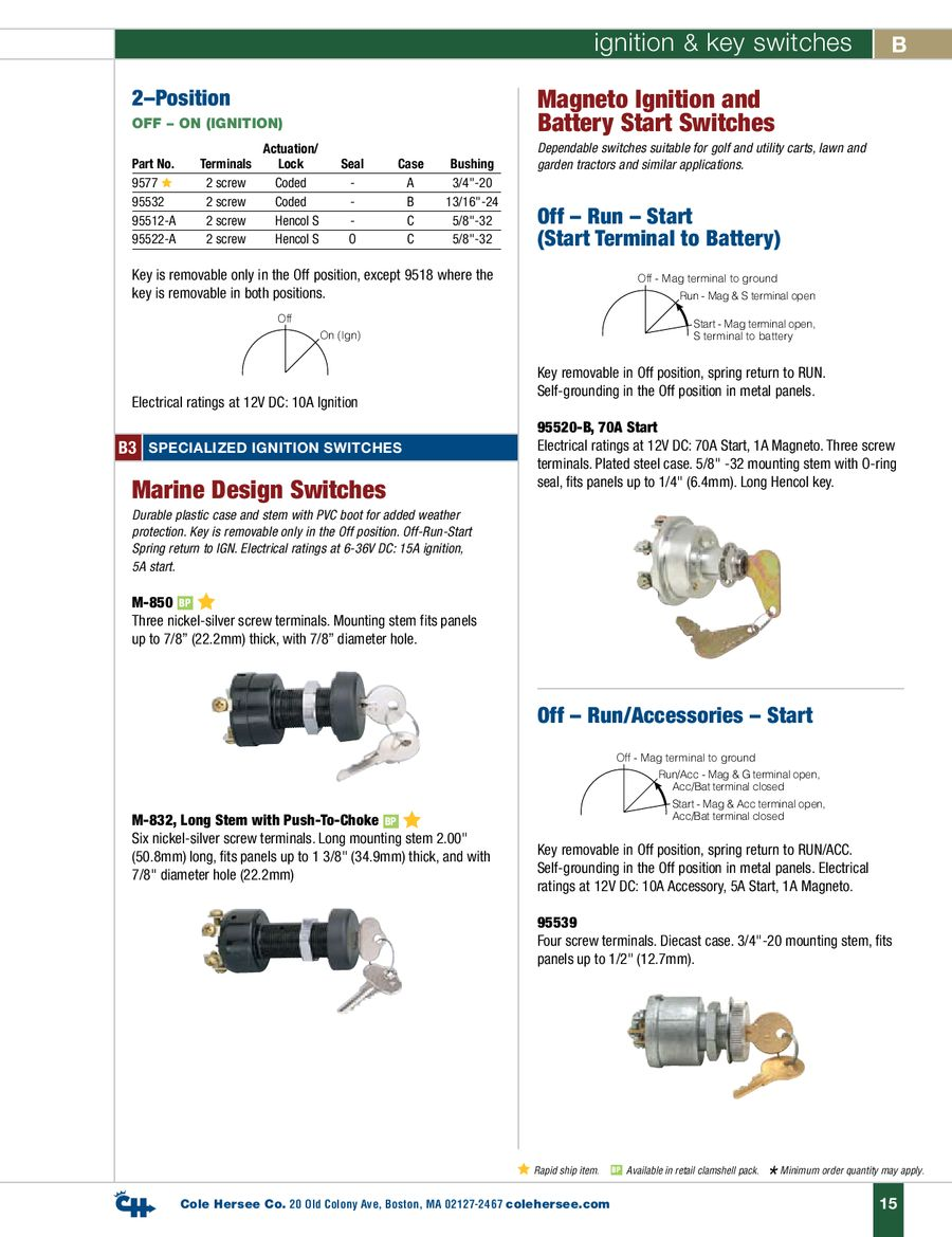 D 400 Heavy Duty Ignition Key Switches By Cole Hersee Series Parallel Switch 8 Terminal P 1 7