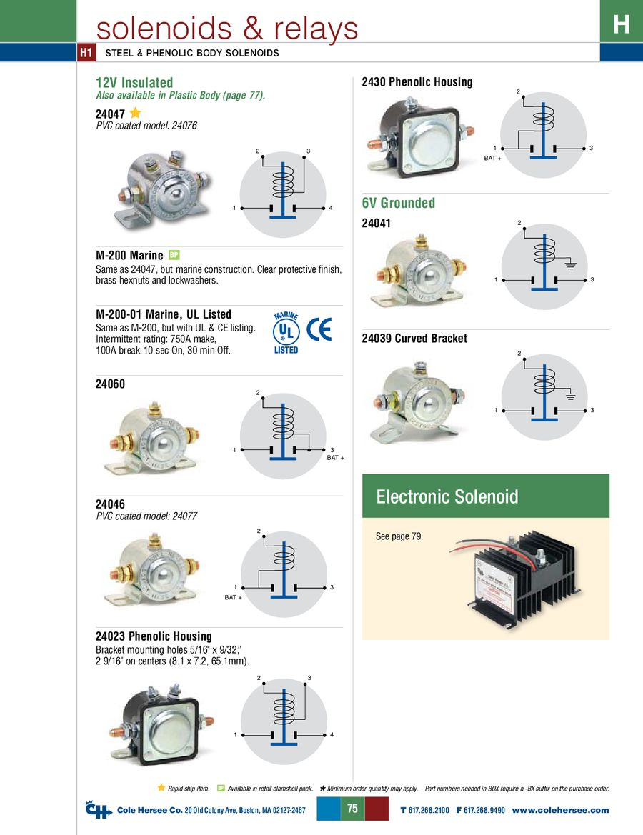 D 275 Master Solenoids Relays By Cole Hersee Relay Circuit Also 12v Wiring Diagram On Power Window P 1 14