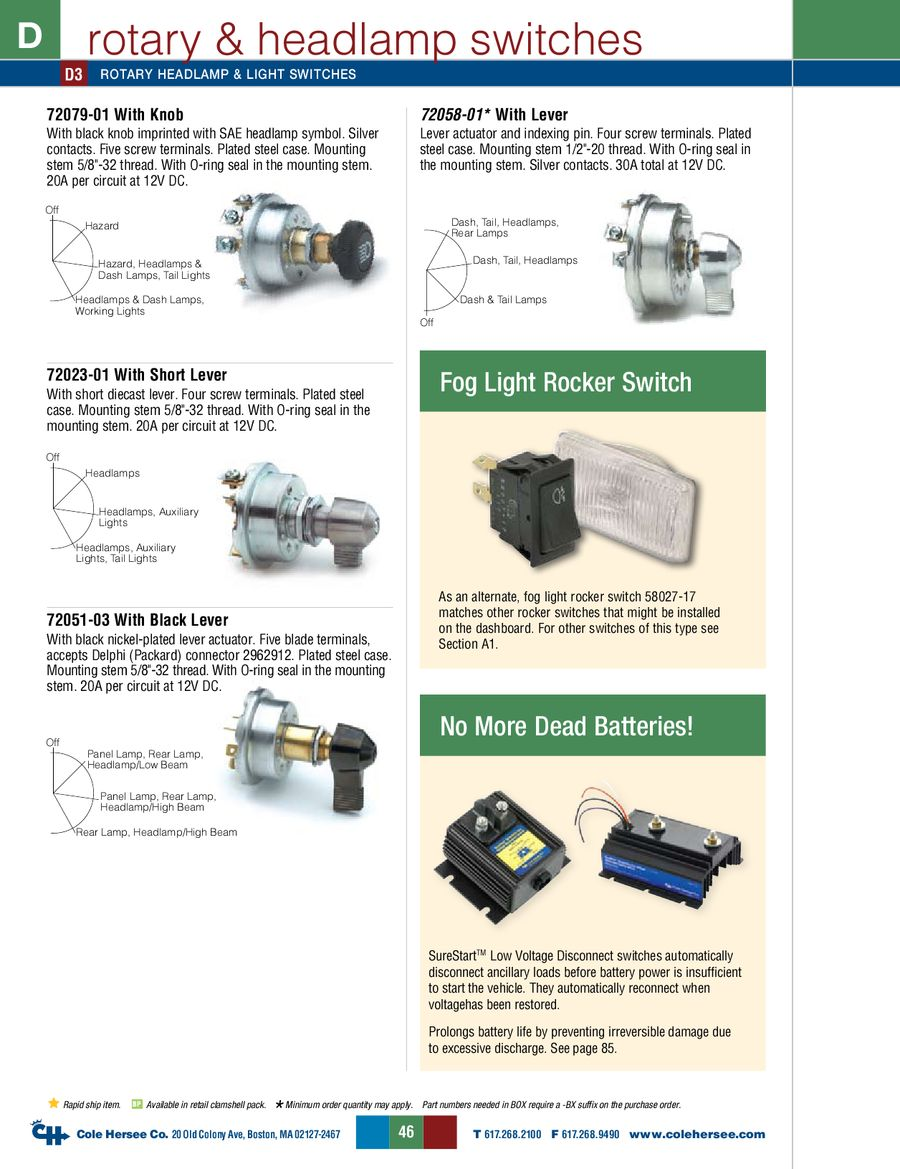 D 275 Master Rotary Headlamp Switches By Cole Hersee Thread Headlight Wiring Plug Diagram P 1 10