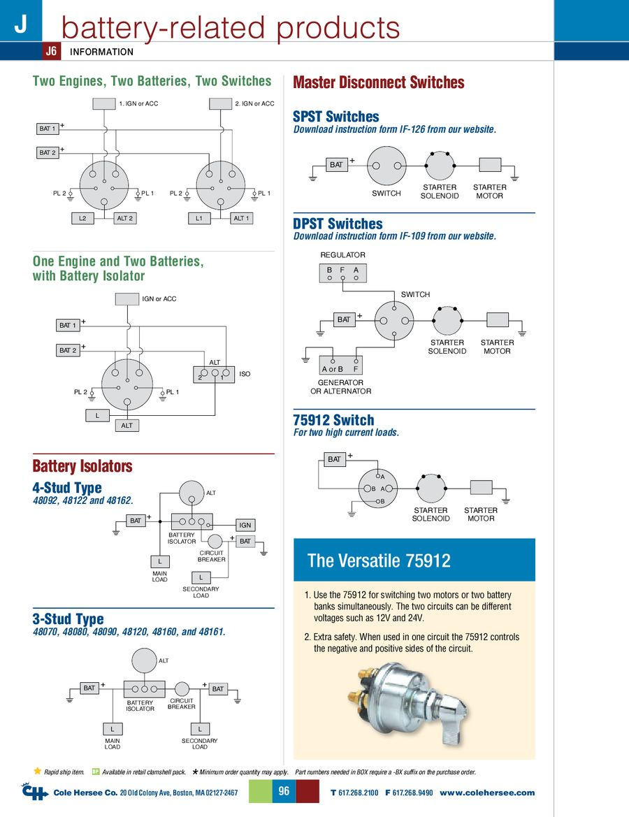 Page 102 of D-275 Master Catalog Cole Hersee Wiring Diagram on