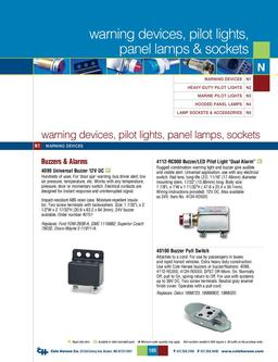 D-275 Master Warning Devices, Pilot Lights, Panel Lamps & Sockets