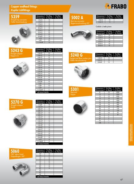 Page of frabo copper solder fittings