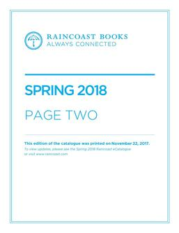 Page Two Spring 2018 Books