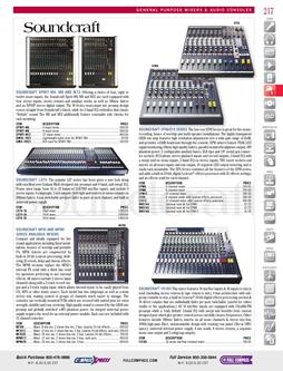 General Purpose Mixers & Audio Consoles: Soundcraft to Yamaha Fall/Winter 2011
