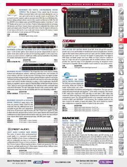 General Purpose Mixers & Audio Consoles: EAW to Shure Fall/Winter 2011