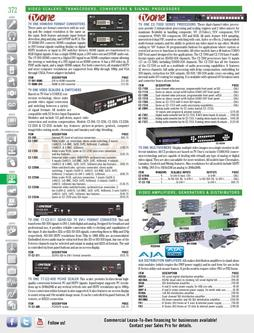 Video Amplifiers, Generators & Distributors Spring/Summer 2012