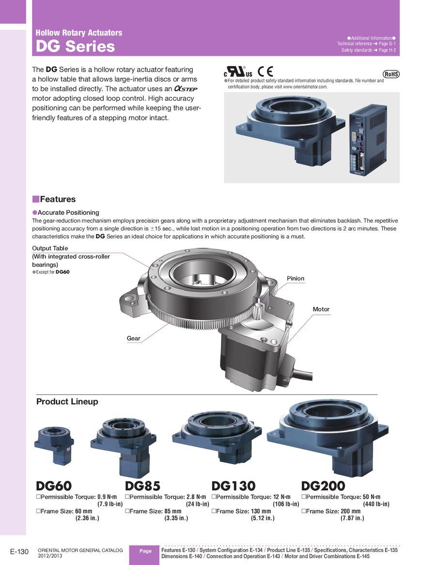 hollow rotary actuators dg series 2012 2013 by oriental motor usa Simple Wiring Diagrams