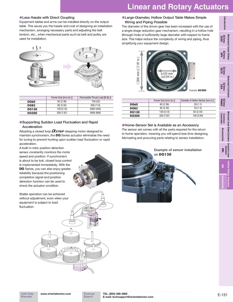 hollow rotary actuators dg series 2012 2013 by oriental motor usa Wiring Low Voltage Under Cabinet Lighting